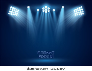 Floodlight, light projectors vector set for sports event, music show on the scene. Presentation, concert banner. Night entertainment, premiere poster. Club illumination for party, performance.