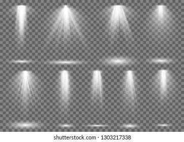 Floodlight. Light spotlight stage beam, spot lamp projection studio lights beam concert club show scene illumination vector collection