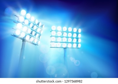Floodlights illuminating the stadium. Sports event. Abstract vector illustration.