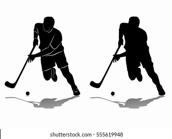floor ball player shooting  , black and white drawing, white background
