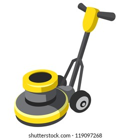 Floor buffer and polisher for tile and carpet. Vector derivative of 3d illustration.