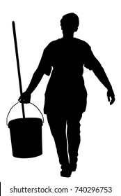 Floor care and cleaning services with washing mop in sterile factory or clean hospital. Cleaning lady service vector silhouette illustration, bucket and equipment. Housemaid cleaner. Housework job.