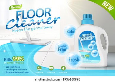 Floor cleaner ads, product package design with several efficacies in 3d illustration, mop cleaning tiled floor.
