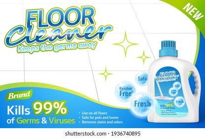 Floor cleaner package on shiny floor with several efficacies in 3d illustration