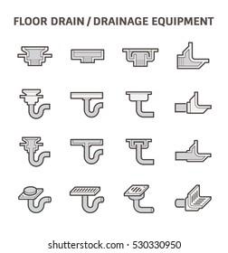 Floor drain or drainage equipment vector icon set.