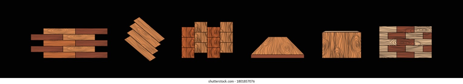 Floor and finishing material such as tile , wood , steel and pvc vector icon set design on black background
