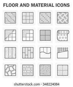 Floor and finishing material such as tile and wood vector icon set design on white background.
