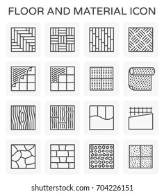 Floor and finishing material such as tile , wood , steel and pvc vector icon set design on white background, line icon and editable stroke.