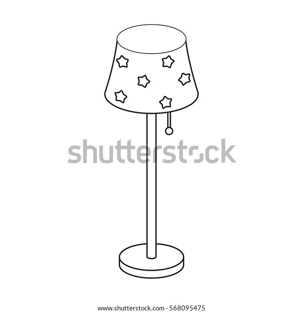 Floor lamp icon in outline style isolated on white background. Sleep and rest symbol stock vector illustration.