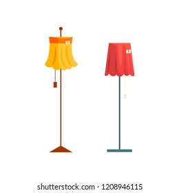 Floor lamps, old unnecessary thing, garage sale vector Illustration on a white background