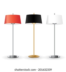 Floor lamps set, vector illustration