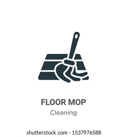 Floor mop vector icon on white background. Flat vector floor mop icon symbol sign from modern cleaning collection for mobile concept and web apps design.
