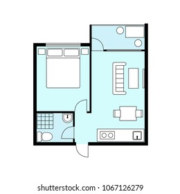 Floor Plan Project One Bedroom Apartment Stock Vector Royalty Free