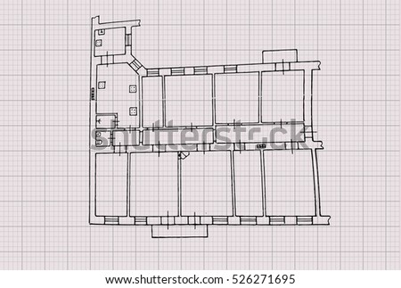 floor plan drawing on graph paper stock vector royalty free