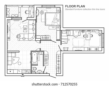 Floor plan with furniture in top view. Architectural set of furniture thin line icons. Detailed layout of the modern apartment. Vector blueprint.