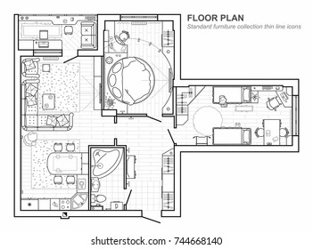 Floor plan with furniture in top view. Architectural set of furniture thin line icons. Detailed project of the modern apartment. Vector interior blueprint.