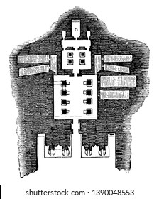 Floor Plan of the Great Temple at Abu Simbel, most rock temples,  entrance, smaller chamber beyond,  vintage line drawing or engraving illustration.
