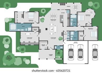 Floor plan of a house. Modern and unique graphic style vector architectural plan with furniture in top view.