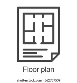 Floor plan icon. Flat scheme. Isolated Vector Illustration on white background.
