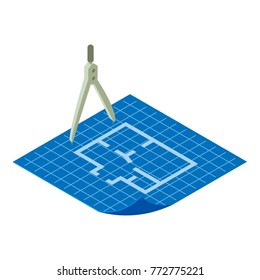 Floor plan icon. Isometric illustration of floor plan vector icon for web