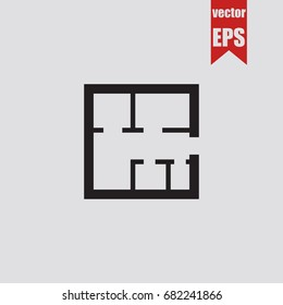 Floor plan icon in trendy isolated on grey background.Vector illustration.