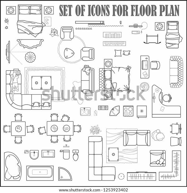 Floor Plan Icons Set Design Interior Stock Vector Royalty Free 1253923402