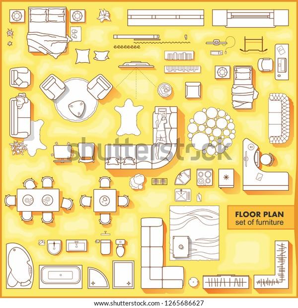 Floor Plan Icons Set Design Interior Stock Vector Royalty Free 1265686627