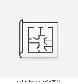 Floor plan linear icon. Vector simple home or apartment project concept sign in thin line style