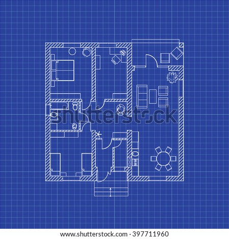 floor plan modern apartment on graph stock vector royalty free