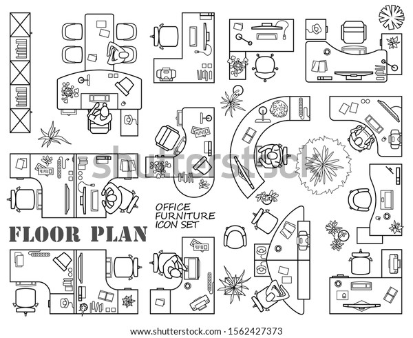 Floor Plan Office Cabinet Top View Stock Vector Royalty Free 1562427373