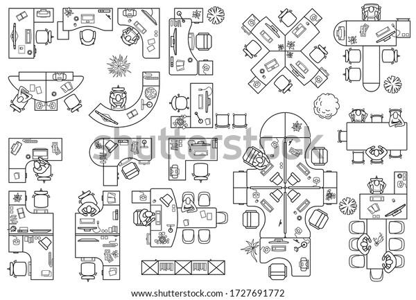Floor Plan Office Cabinet Top View Stock Vector Royalty Free 1727691772