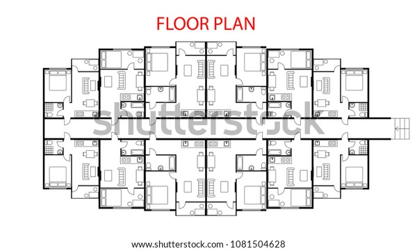 Floor Plan Project One Bedroom Apartment Stock Vector ...