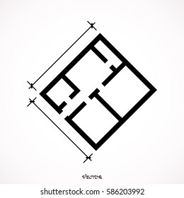 floor plan vector. Icon Isolated on White Background