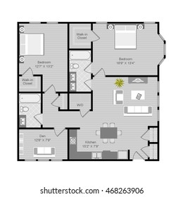 Floor plan vector illustration. 2 Bedroom 2 Bath apartment architectural CAD drawing.