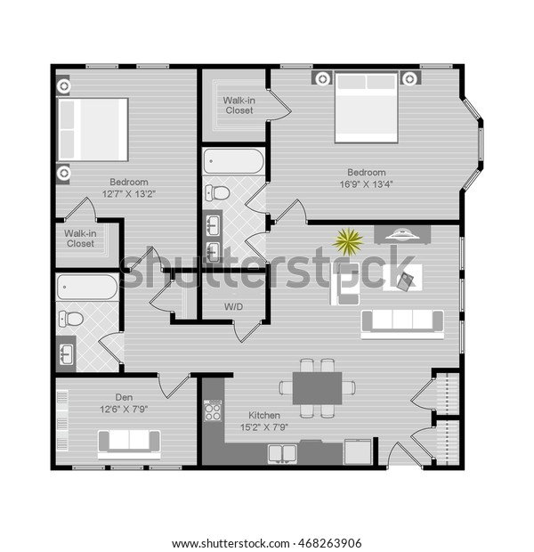 Floor Plan Vector Illustration 2 Bedroom Stock Vektorgrafik