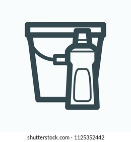 Floor washing liquid icon, means for washing the floor vector icon