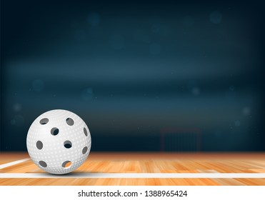 Floorball ball on wooden floor and sport arena with tribunes and lights in blurred background - vector illustration