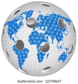 Floorball ball with the world globe