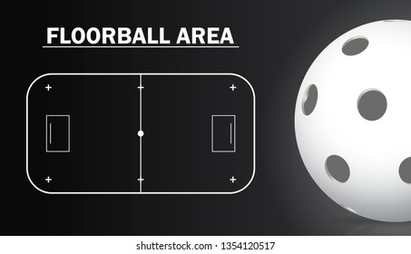Floorball court and floorball ball realistic details. Sport background.