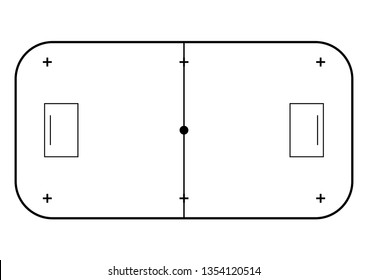 Floorball court line art style. Sport background.