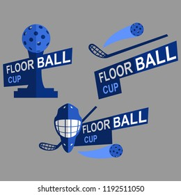 floorball cup logo vector illustration