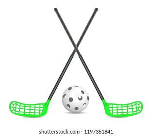 Floorball sticks with ball