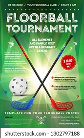 Floorball tournament invitation template with ball, sticks, glowing triangular background and sample text in separate layer - vector illustration