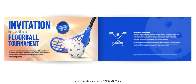 Floorball tournament invitation template with ball and stick. Sample text in a separate layer. Vector illustration.