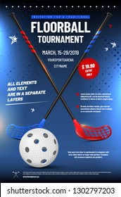 Floorball tournament invitation template with ball, sticks and sample text in separate layer - vector illustration