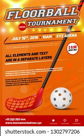 Floorball tournament poster template with stick and ball and sample text in separate layer - vector illustration