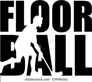 Floorball word with player cutout