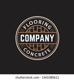 Flooring and concrete circle seal line art logo design