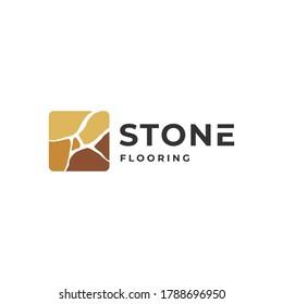 Flooring logo inspiration with stone element. Interior / furniture design template