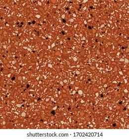 Flooring venetian terrazzo seamless pattern. Natural realistic stone imitation, marble confetti background. Vector surface texture of granite, concrete, red mosaic tile, pebbles, orange quartz shape.